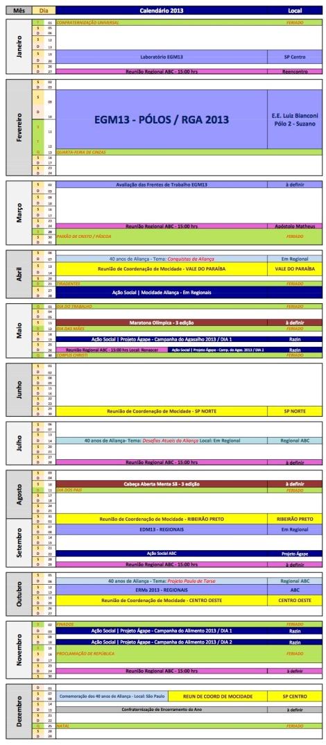Calendário Completo REMO ABC 2013